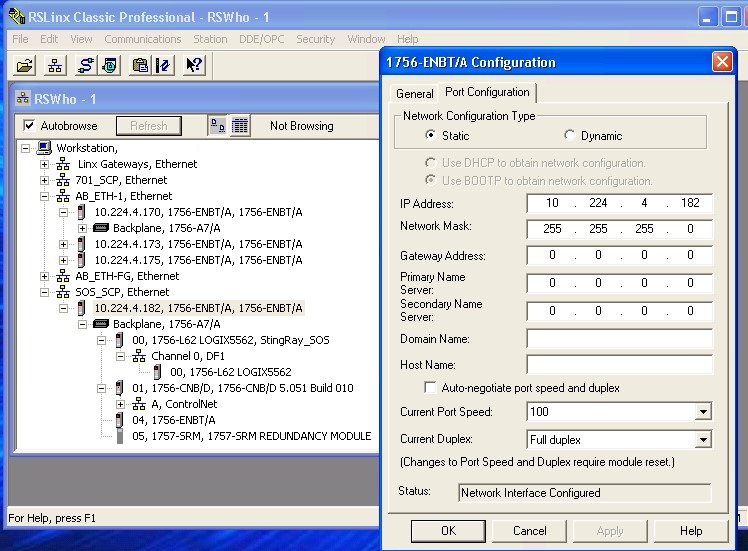 How to set ControlLogix 1756-ENBTgateway address - Allen Bradley