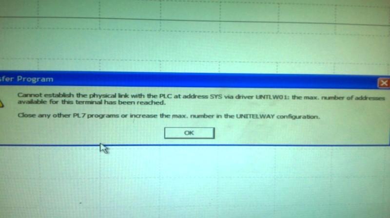 Error in Modicon PLC Communicatin - Modicon / Telemecanique