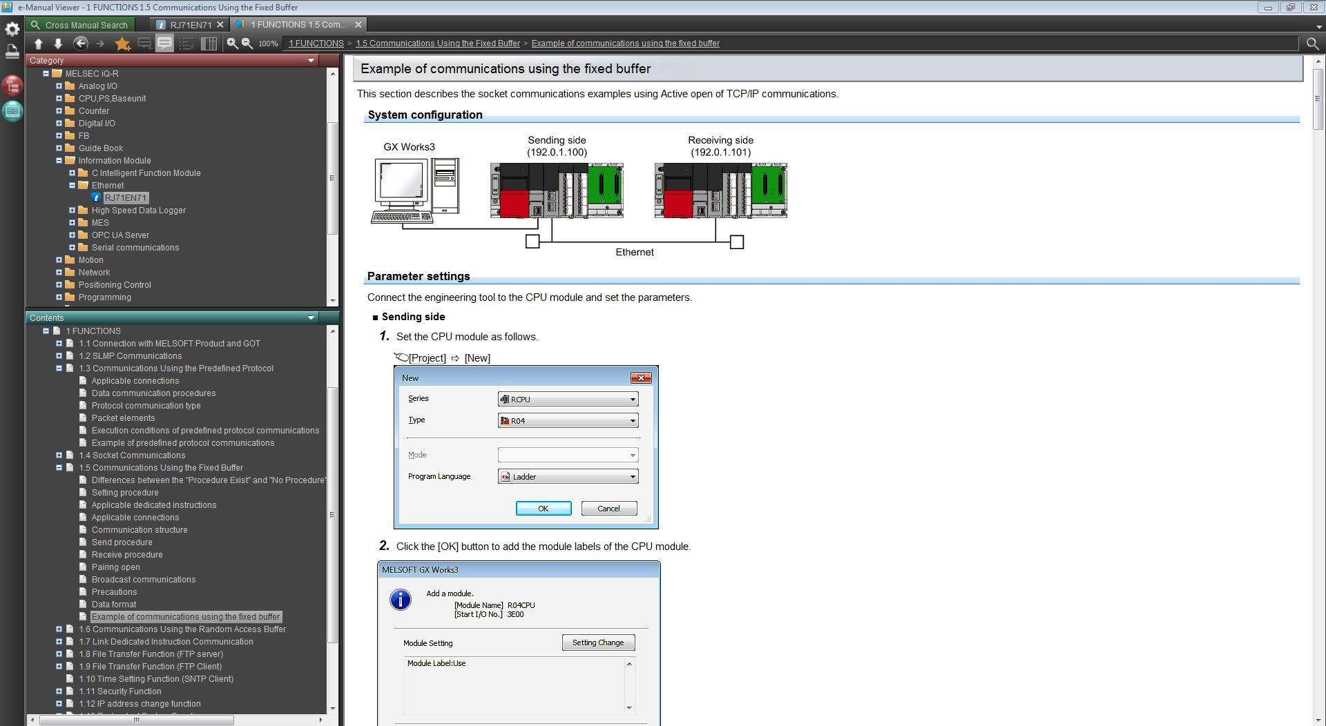 PLC iQ-R R04CPU Socket TCP/IP communication via build in