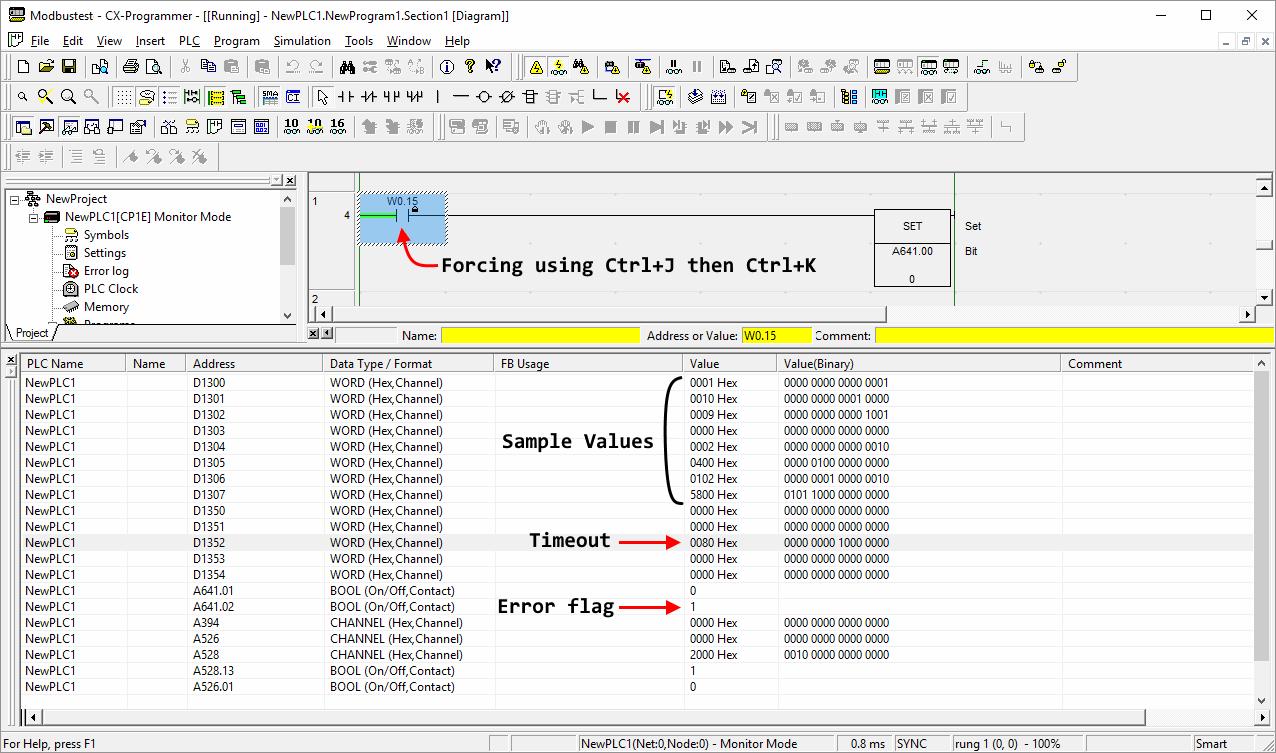 ModBus RTU communication between Omron CP1E (CP1W-CIF11) and