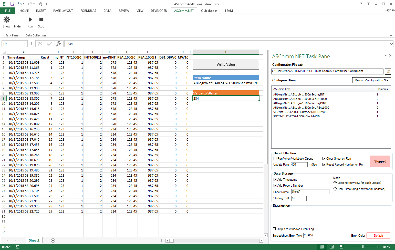 Excel Add-in for Modbus/TCP Data Logging